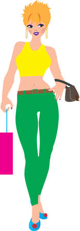 capri pants: A Cartoon Woman wearing a crop top and capri pants shopping