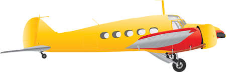 A Yellow and Red Veteran Airliner isolated on white Illustration