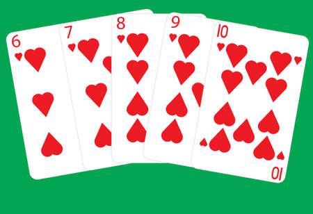A Straight Flush Winning  Poker Hand on a green background