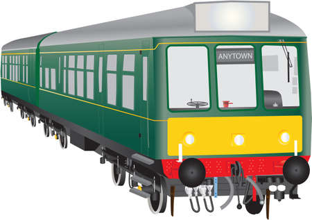 A Veteran Twin Car Suburban Diesel Train isolated on white