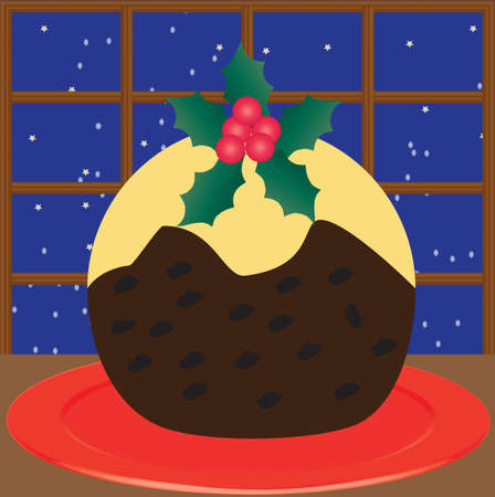 A Christmas Pudding decorated with Holly with a snowflake and star background Illustration
