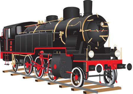 ヴィンテージ黒と赤 10 輪貨物機関車白で隔離真鍮継手  イラスト・ベクター素材