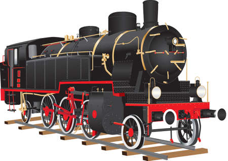 Un vintage negro y rojo diez ruedas locomotora de carga con accesorios de latón aislados en blanco