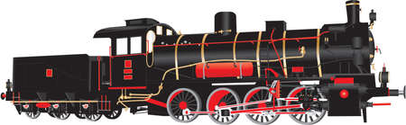A Detailed vector illustration of Black and Red Vintage Eight Wheeled Steam Freight Tender Locomotive with brass fittings