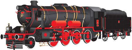 10 輪の赤と黒の詳細なイラスト白背景上蒸気貨物機関車に分離。  イラスト・ベクター素材