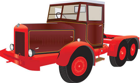 A Vintage Red and Maroon Articulated Truck isolated on white Illustration
