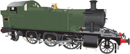 A detailed illustration of a vintage green and black ten wheeled steam freight locomotive. Illustration