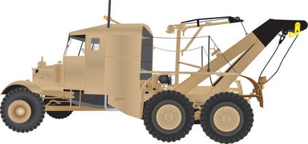 A Vintage Six Wheeled Army Tow Truck with two cranes painted in desert camouflage.
