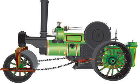 A Detailed Illustration of a Green and Black Steam Powered Road Roller with Brass Fittings isolated on White Ilustracja