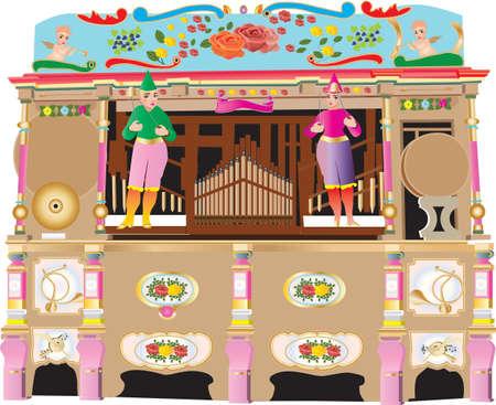 Un orgue de pipe de foire mécanique brillamment décoré de roses, raisins, rouleaux et instruments de musique isolés on white Banque d'images - 89968816