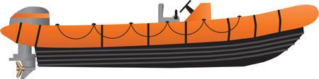 Wektorowa ilustracja Pomarańczowa i Czarna Wysoka prędkość nadmuchiwana przybrzeżna łódź ratunkowa odizolowywająca na bielu