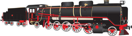 A Heavy duty Red and Black Fourteen Wheeler Steam Tender Locomotive with brass and copper fittings isolated on white