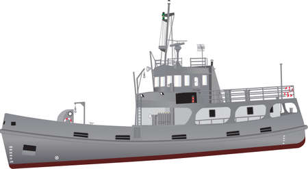 A detailed illustration of a Navy Support Ship equipped for diving and salvage with grey livery and red oxide boot topping and an array of radar navigation equipment and recovery cranes isolated on white
