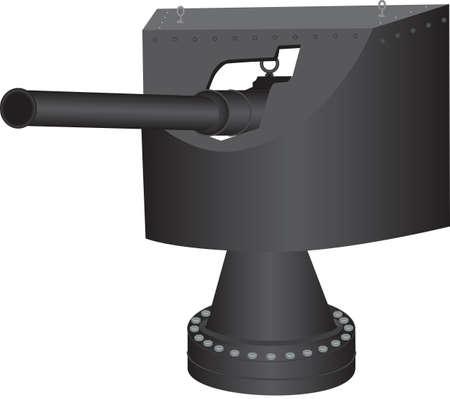 An Early Twentieth Century Quick firing 12 pound Naval Gun isolated on white Ilustracja