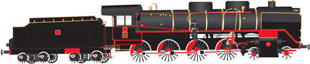 A Heavy duty Red and Black Twelve Wheeler Steam Tender Locomotive with brass  fittings isolated on white  イラスト・ベクター素材