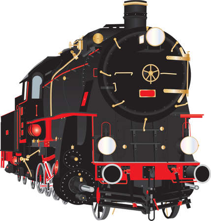 A detailed illustration of a Veteran Ten Wheeler Steam Freight Tender Locomotive with brass pipe fittings and a Red and Black Livery and red and white wheels and connecting rods isolated on white