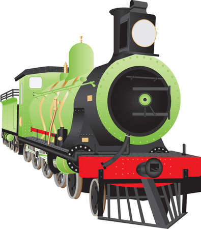 An Old Twelve Wheel or 480 Steam Railway Tender Locomotive with a cowcatcher, headlight and brass fittings painted in a green,red and black livery isolated on white Ilustracja