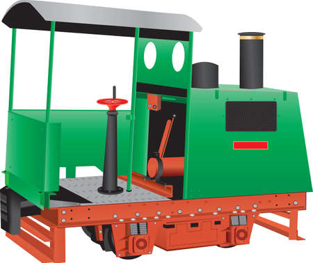 A Vintage Green and Red Oxide Painted Four Wheeled Narrow Gauge Diesel Engine Locomotive with brass fittings used in Quarries and Industrial Sites isolated on white