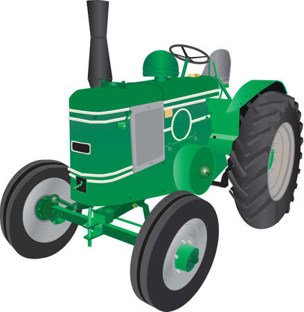 A detailed illustration of a Vintage Green four wheeled Farm Tractor isolated on white Illustration