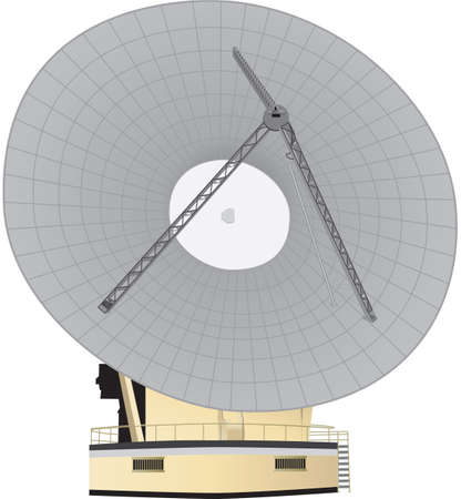 A  Large Parabolic Dish Telecommunications Antenna  for broadcasting and receiving international  phone calls,spaceship communications,bank transactions  and television programmes isolated on White Ilustracja