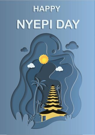 Happy Silence Day and Hindu's New Year vector illustration flat design template, Bali temple with simple bright sky landscape papercut, Indonesia heritage and culture, Tropical Island in Indonesia