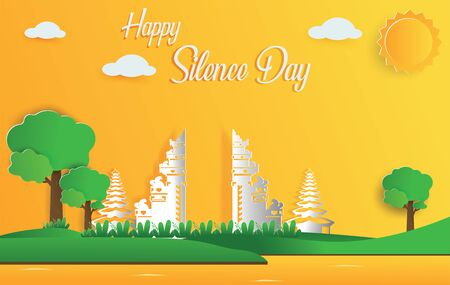 Happy Silence Day and Hindu's New Year vector illustration flat design template, Bali temple with simple bright sky landscape papercut, Indonesia heritage and culture, Tropical Island in Indonesia Ilustración de vector