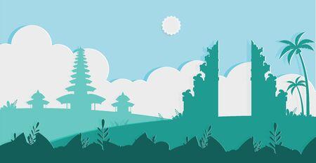 Beau temple de Bali et Pura dans le modèle de conception plate de silhouette de jour de silence, jour de silence de Bali et nouvel an hindou, bonne journée de Saka à Bali Indonésie Illustration vectorielle Vecteurs