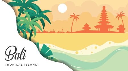 Beautiful bali tropical island in indonesia vector illustration flat design template with temple background, holy bali holy place poster banner, indonesia heritage Ilustrace