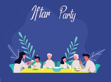 Iftar Party With whole familly in ramadhan Vector Illustration flat design, eid mubarak and eid al fitr vector template ui, moslem people having iftar party with family poster banner
