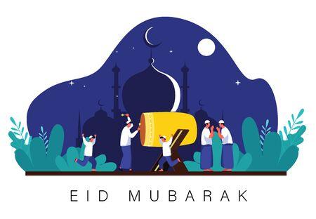 Muslim people celebrate eid al fitri at night, happy muslim eid mubarak, ramadhan kareem vector poster banner, celebration of moslem people, holy ceremony os muslim