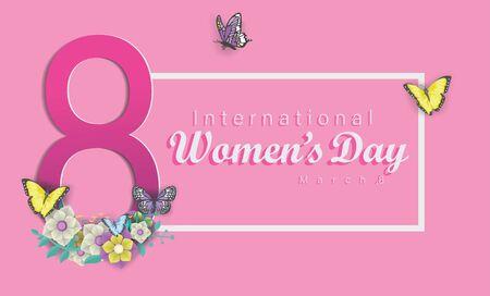 Happy international women's day vector logo icon illustration flat design template background, empowering women celebration, women's power illustration, women symbol logo, 8 march celebration Иллюстрация