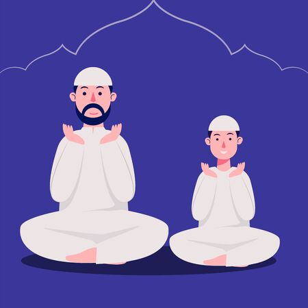 Father and Son Character Wearing White Moslemwear Praying  Vector Illustration, Ramadan Kareem adn Eid Mubarak Background, Spiritual Activity, Religion, Islam Stock Illustratie