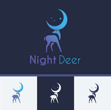 Night Deer Logo and Icon Vector Illustration, Deer Sign and Symbol For Company or Corporate Flat Design with Four Different Style and Color 向量圖像