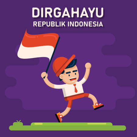 Indonesia Independence Day Vector Illustration, Happy Indonesian Kids Holding up The Flag In Independence Celebration Flat Design, Indonesian Boy Ilustração