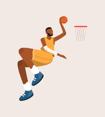 Basketball Player Jumping to Net Vector Illustration, Flat Design of Afro Man Playing Basketball, Basketball player flat hand drawn,Athlete hitting the ball smash cartoon character.