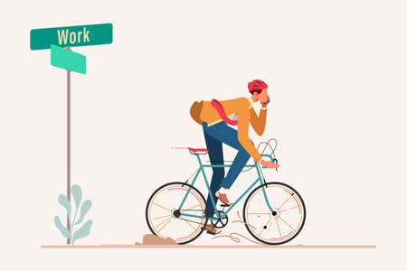 Bussinesman Riding Bycicle to Work Flat Design Concept, A Man Ride Bycicle to Work Vector Illustration, Ecological Transport, Urban Life