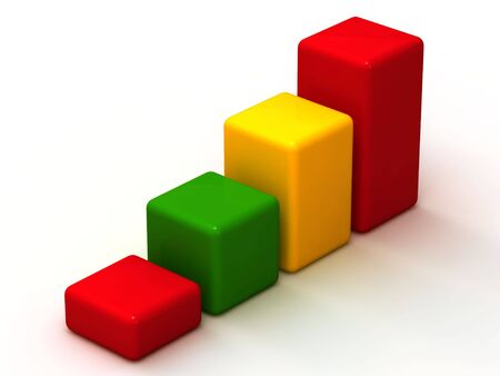 Cubes of various colours increasing values
