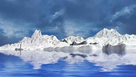 Snow mountains in cloudy day