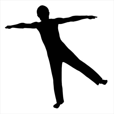 Silhouette of the person with the lifted hand