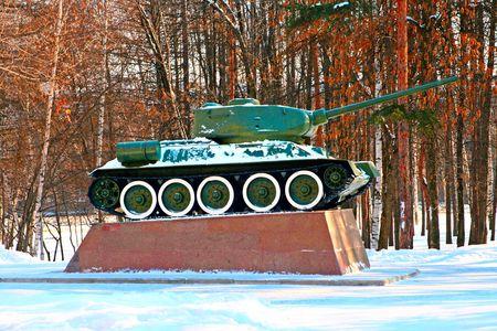 Military Tank. Second World War times. Bashkortostan, Ufa, victory park Stock Photo