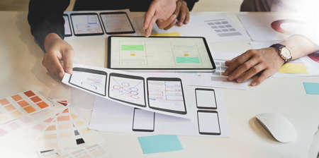 UX Graphic designer creative planning application process and development prototype wireframe for web or mobile smart phone
