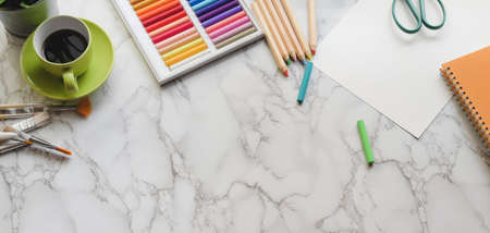 Top view of modern artist workplace with painting tools and copy space on marble desk background 스톡 콘텐츠 - 133666890