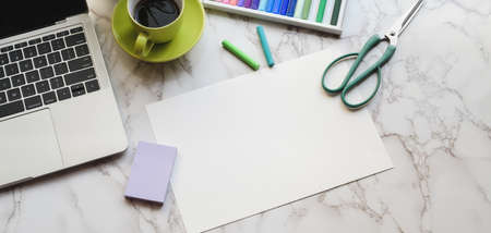 Top view of modern artist workspace with office supplies and sketch paper on marble desk background 스톡 콘텐츠 - 133667921