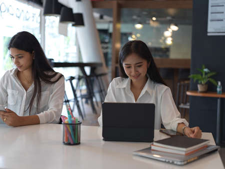 Young professional businesswomen working on their project together in modern office room
