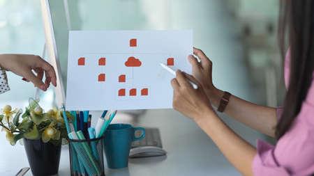 Cropped shot of UI developer presenting her idea on paperwork in meeting room 免版税图像