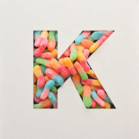 Colourful Font design, Abstract alphabet font with jelly, realistic typography - K