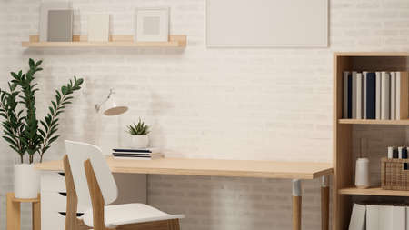 3D rendering, home office room with worktable, book shelf, plant pot, frame, other decorations and chair, 3D illustration Stock Photo