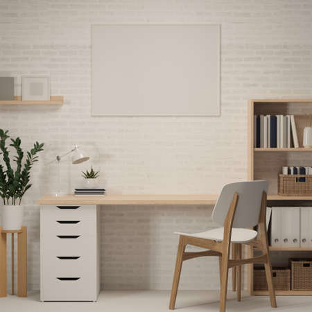3D rendering, home office room with worktable, book shelf, decorations and chair, 3D illustration