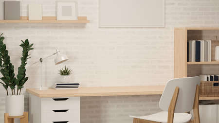 3D rendering, home office room with study table, book shelf, plant pot, frame, other decorations and chair, 3D illustration Stock Photo