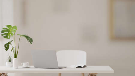 3D rendering, study table with laptop, book, supplies and plant vase in modern living room, 3D illustration Stock Photo